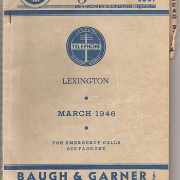 Two Old Telephone Directories From Lexington, Kentucky