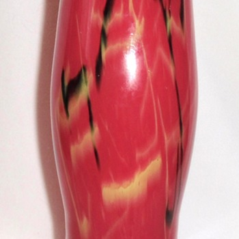 1928 Wedding Gift - Red Ruckl Glass Vase Export Marked With Note