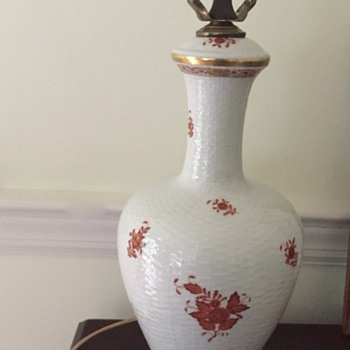 My Herend Rust Chinese Bouquet Lamp  - Lamps