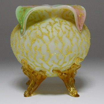 "Early Bohemian Footed Glass Vase ""Coralene"" Circa 1880-90"
