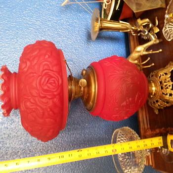 Red glass boudoir oil lamp w/ Success burner - Lamps