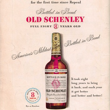 1950 Old Schenley 8 Advertisement