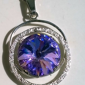 Hand Made 925 Sterling Crystal Pendant Flea Market Find 1 Euro ($1.09) - Fine Jewelry