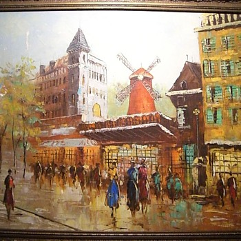 Paris Street Scene - Moulin Rouge - Oil Painting.