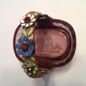 Jeweled enameled holder - Glassware