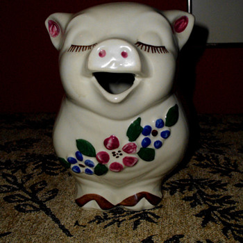 Smiley the Pig Pitcher 1930s - Art Pottery