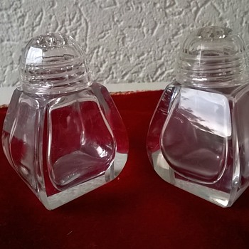 Vintage Bohemian Crystal Salt & Pepper Shakers Thrift Shop Find $1.00 - Kitchen