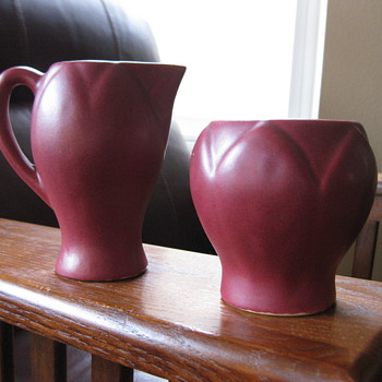Unmarked Van Briggle Creamer Set - Art Pottery