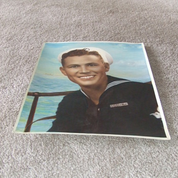 WW2 sailor photograph with painted coloration