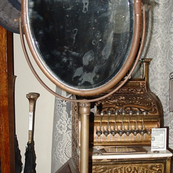 Antique Department Store Pedestal Mirror...Beveled Glass - Furniture