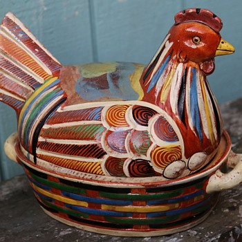 Giant Chicken Pot from Mexico - Art Pottery