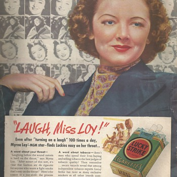 "Myrna Loy""MGM Star""Lucky Strike Advertizing 1937"