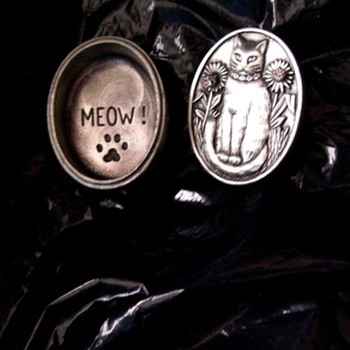 CAT JEWELRY, BAR PIN & CZ EARRINGS--ALL IN ONE, Polished Pewter.