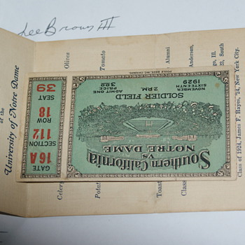 1929 ND vs. USC Ticket on Soldier Field w/ 3 autos on back & 1929 alumni/banquet.