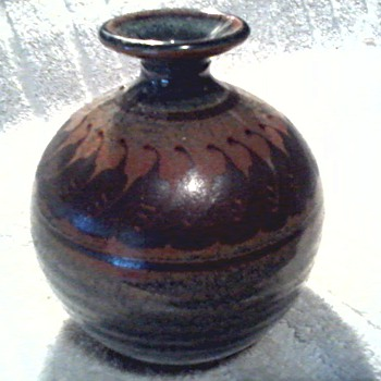 Mark Nafziger Stoneware Vase / Earth Tone Salt Glaze / Circa 1980's - Art Pottery