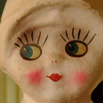 Kewpie Style Doll Lamp 1920s Side Glancing Papier Mache (Ungers?) - Dolls