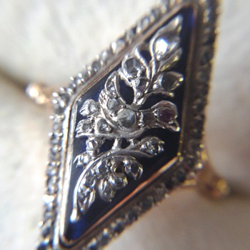 DIAMOND GEORGIAN BLUE ENAMELED NAVETTE DOVE RING   - Fine Jewelry