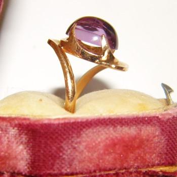 Vintge Nouveau Alexandrite? Sapphire? 14k Rose Gold Ring  - Fine Jewelry