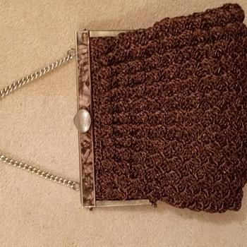 Crochet raffia handbag