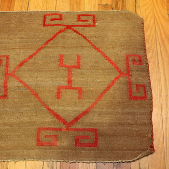 Small textile rug saddle blanket with red design - Rugs and Textiles