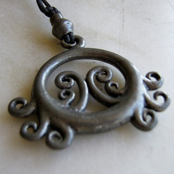 1970's  handmade pewter necklace