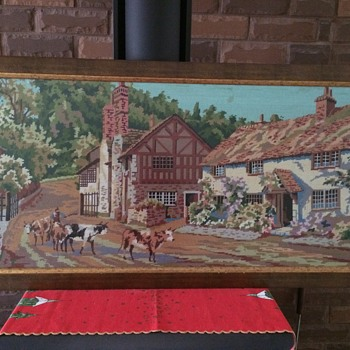 Massive vintage cross stitch of country scene
