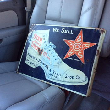 "Original Double Sided Flange Sign ""Star Brand Shoes"" made by Chas. W. Shock Co. Litho. Chicago"