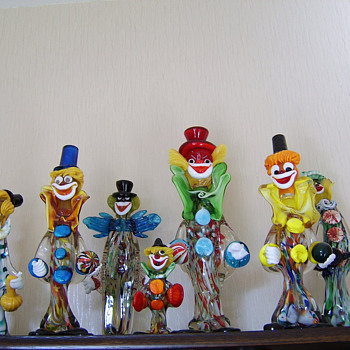 Small selection of Murano glass clowns