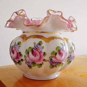 Vtg Fenton Charleton Rose Fantasy Vase Pink Cased Satin Milk Glass Ruffled Top