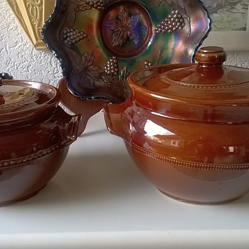 Pearson's Of Chesterfield Stoneware Bean Pots Thrift Shop Find 2 Euro (2.07) - Pottery