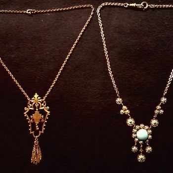 Pair of Victorian Style Brass Lavalier Necklaces / Circa 20th Century - Costume Jewelry