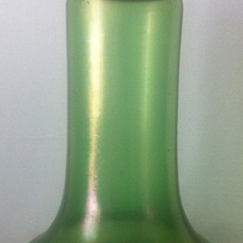 Simple iridescent green vase with hammered brass collar - Art Glass