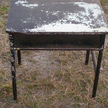 Vintage Metal School Desk - Furniture