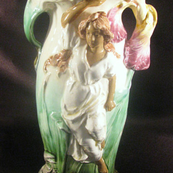 Majolica Art Nouveau Vase - Art Pottery