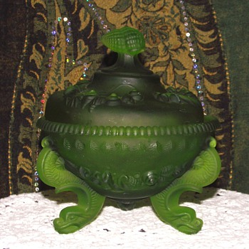 Westmoreland Argonaut Candy Dish in Satin Green - Glassware