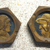 Odd Wood Carved/Relief Elderly Couple in Hexagon Shaped Picture Frames