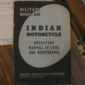 Indian Military Model 640 Owners manual - Motorcycles