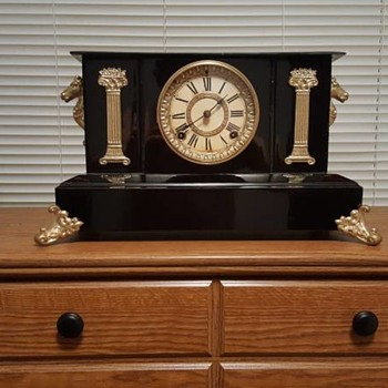 Ansonia Cast Iron Mantel Clock - Clocks