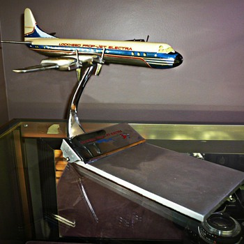 RARE Lockheed Prop-Jet Electra Metal Airplane Company Desk Note Pad Holder 1950s - Advertising