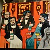 """Very Large 12"""" tile of Gathering of Connoisseurs by Guy Bufet"""