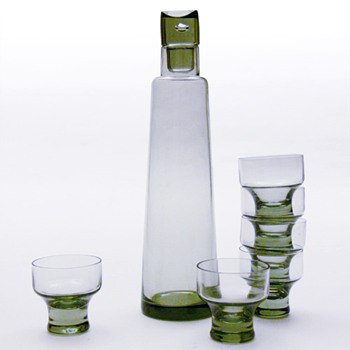 CHRISTER decanter and glasses, Christer Holmgren (Holmegaard, 1963).