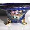 Post 1/4, Art Deco Lotus bowl decorated with Galleon pattern on blue ground Poss Att to:Lucien Emile/Lucien George Boullemier