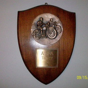 1930&#039;s - 1940&#039;s AMA Harley Indian Motorcycle Trophy Plaque - Motorcycles