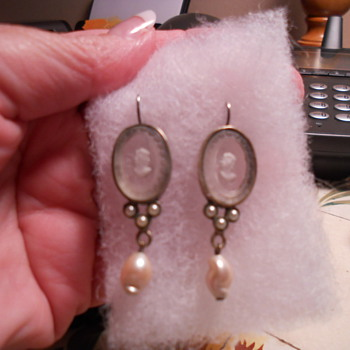 My beautiful antiue glass cameo earrings
