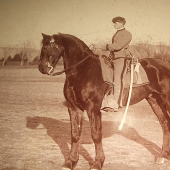 Cabinet card of USMA  Cadet William S. McNair on horseback - Military and Wartime