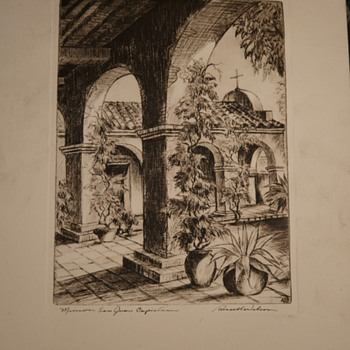 Mission San Juan Capistrano by Russel Wilson - an etching - Posters and Prints