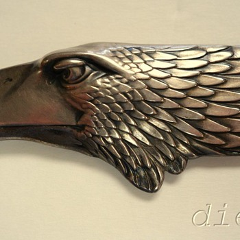 ART DECO/ART NOUVEAU NORWEGIAN? 830S SILVER EAGLE CELLULOID ANTIQUE LETTER OPENER - Sterling Silver