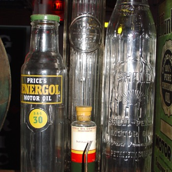 Shell, Tiolene And Energol Glass Oil Bottles