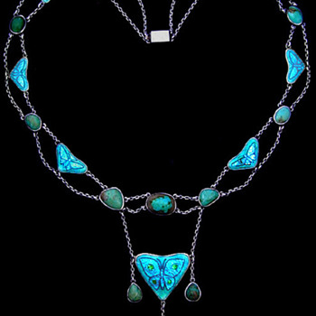 Arts & Crafts -- Enamel and Turquoise Butterfly Necklace - Fine Jewelry