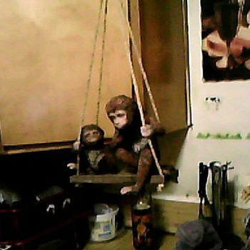 TWO MONKEYS ON A SWING - Animals